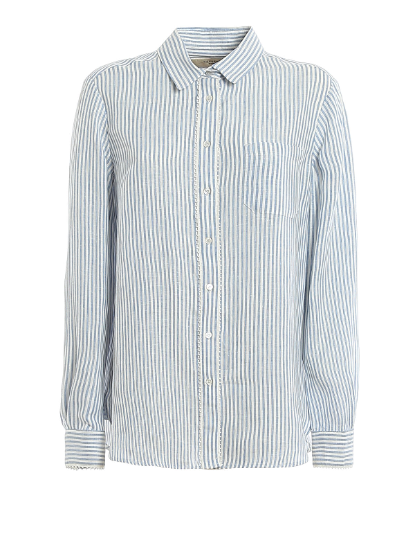 Weekend Max Mara Striped Shirt In Blue