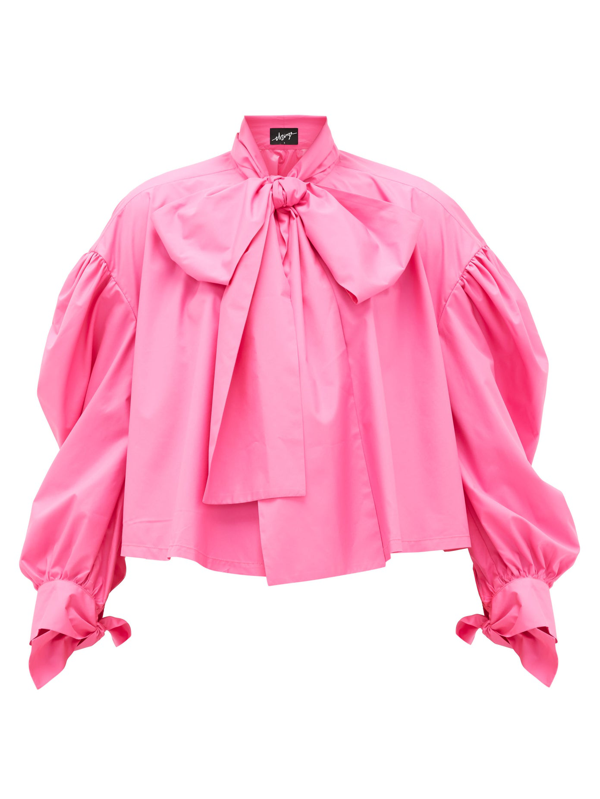 Elzinga Pussy-bow Balloon-sleeved Technical-poplin Blouse In Pink