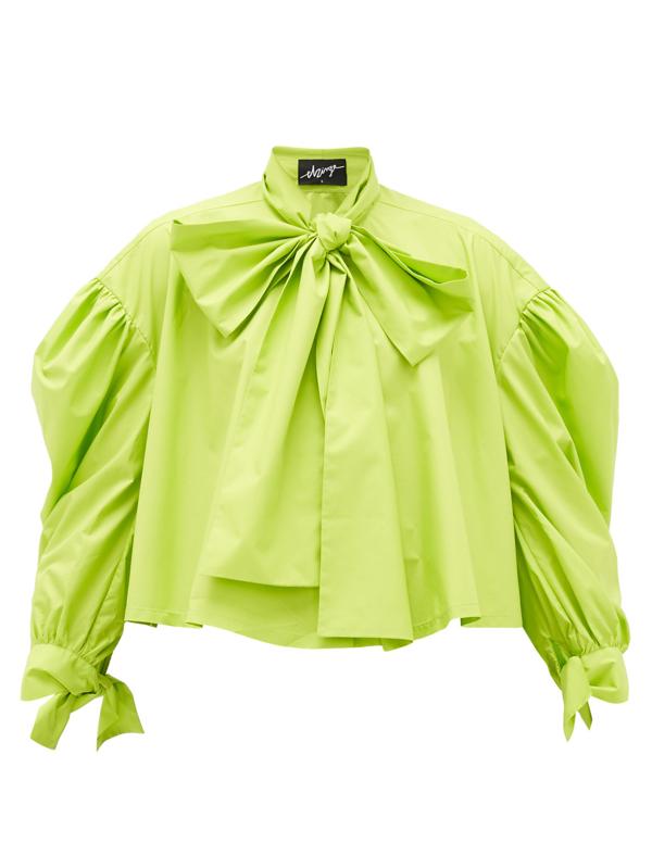 Elzinga Pussy-bow Balloon-sleeved Technical-poplin Blouse In Green