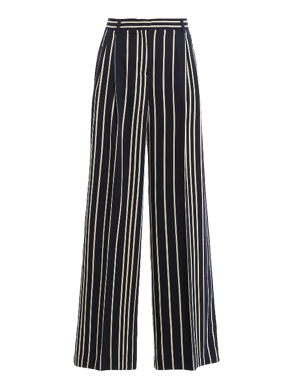 Weekend Max Mara Pina Striped Palazzo Trousers In Navy Multi