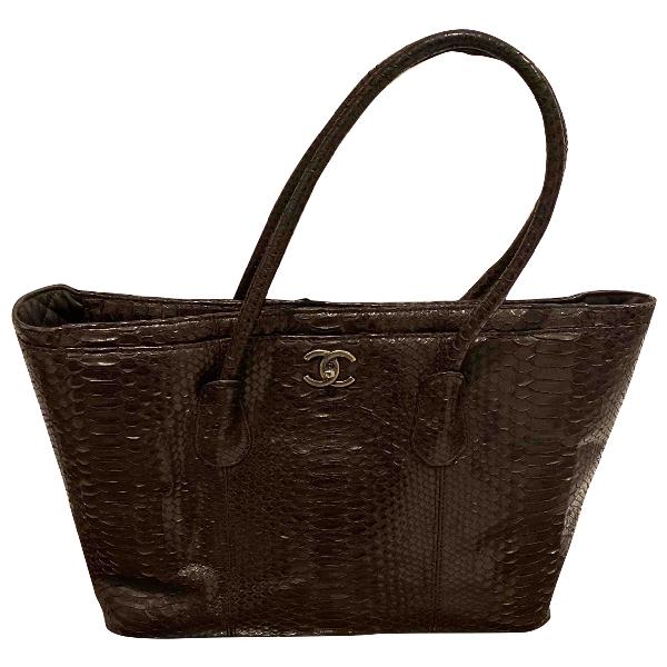 Chanel Brown Python Handbag