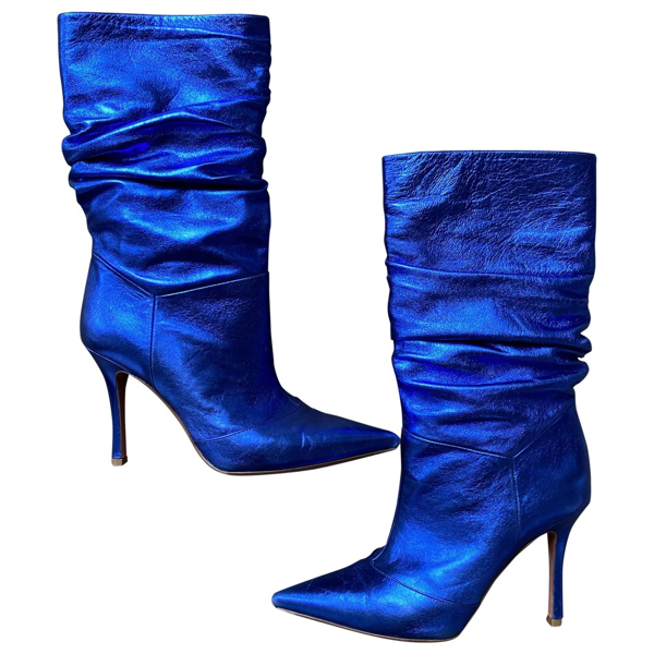 Pre-owned Amina Muaddi Ida Blue Leather Ankle Boots