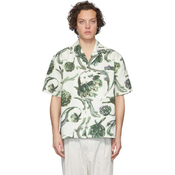 Jacquemus La Chemise Jean Camp-collar Printed Cotton And Linen-blend Shirt In Artichoke