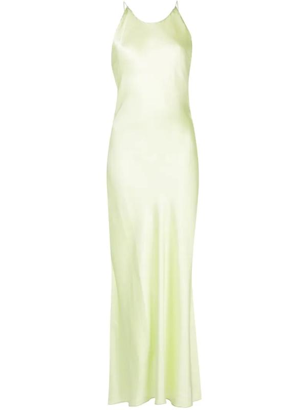 Rosetta Getty Women's Cross-back Strap Satin Slip Dress In Green
