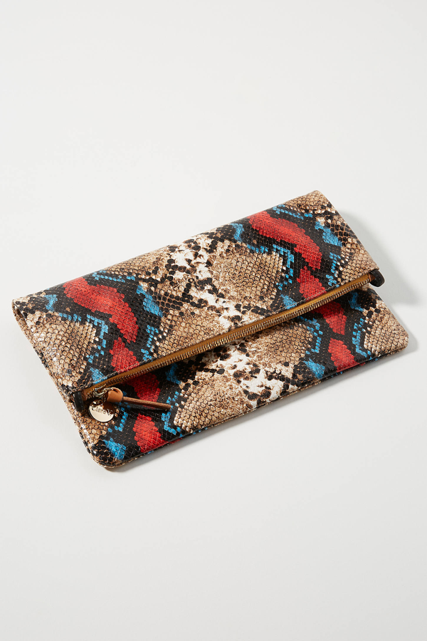 Clare V Snake Embossed Leather Foldover Clutch In Red