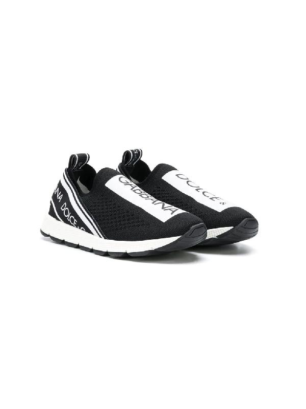 Dolce & Gabbana Kids' Logo Print Knit Slip-on Sneakers In Black