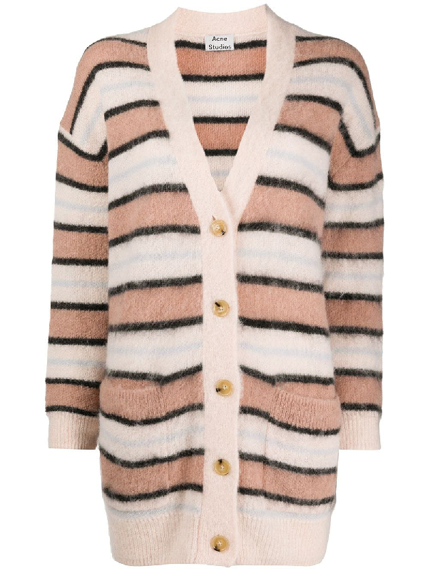 Acne Studios Keda Textured Knitted Cardigan In Pink