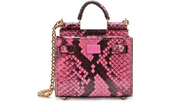 Dolce & Gabbana Elaphe Sicily 62 Micro Tote Bag In Fuchsia