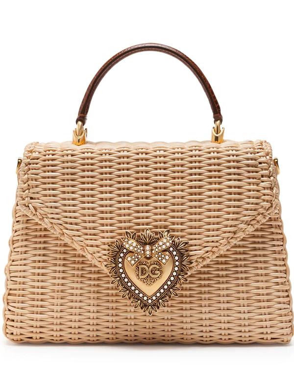 Dolce & Gabbana Medium Devotion Bag In Wicker In Neutrals