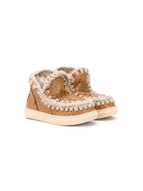 Mou Kids' Eskimo Logo Ankle Boots In Brown