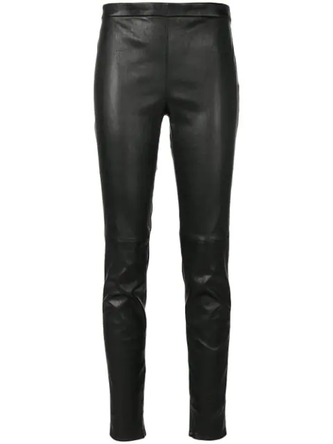 Saint Laurent Mid Waist Leather Leggings In Black