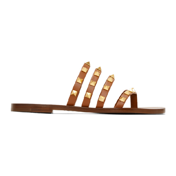 Valentino Garavani 10mm Rockstud Leather Thong Sandals In Hg5 Selleri