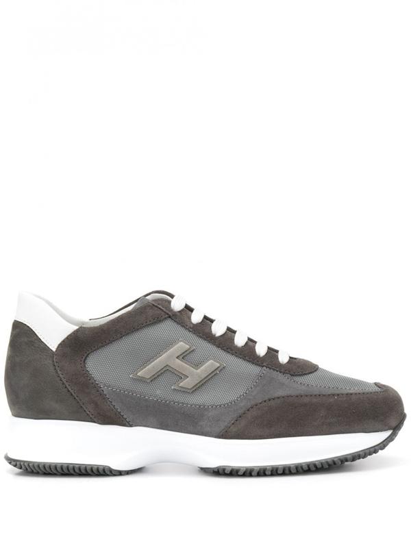 Hogan New Interactive H Flock Sneakers In Grey   ModeSens