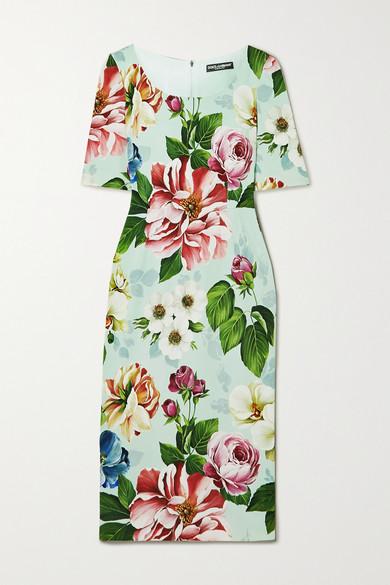 Dolce & Gabbana Short-sleeved Floral-print Cady Midi Dress In Blue