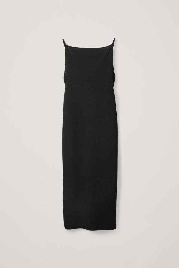 Cos Knitted Slip Dress In Black