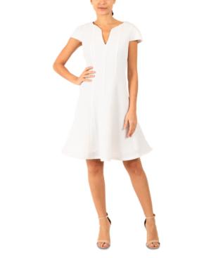 Julia Jordan Mesh Jacquard Fit & Flare Dress In Ivory Silver