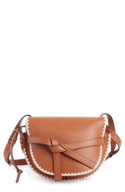 Loewe Small Gate Crochet Leather Crossbody Bag In Brown