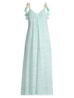 Pitusa Women's Tassel Tie Maxi Dress In Aqua