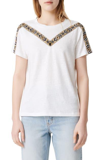 Maje Toblo Embroidered Linen T-shirt In Ecru