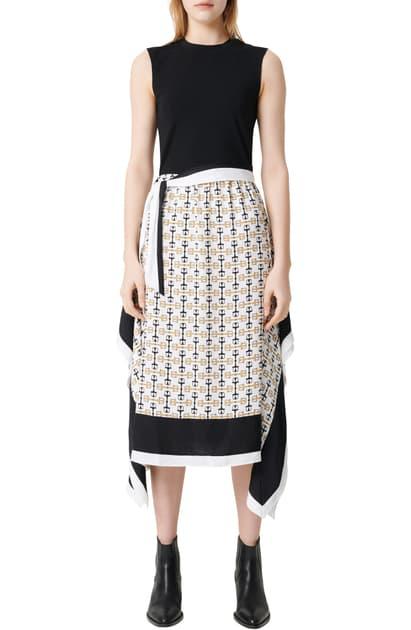 Maje Rosy Solid & Scarf Print Midi Dress In White+++black