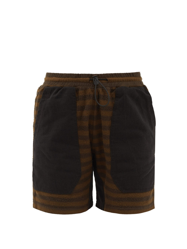 Phipps Striped Organic-cotton Fleece Shorts In Brown