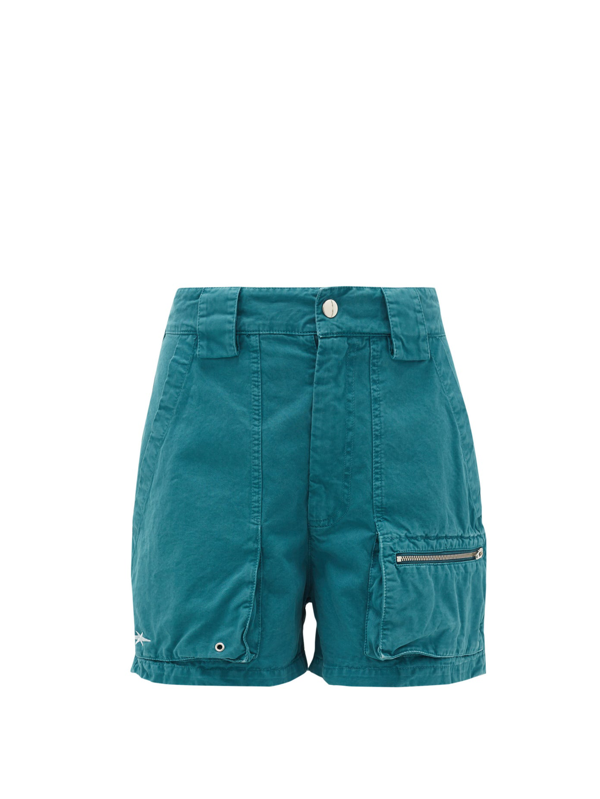 Phipps Patch-pocket Organic Cotton-twill Shorts In Blue