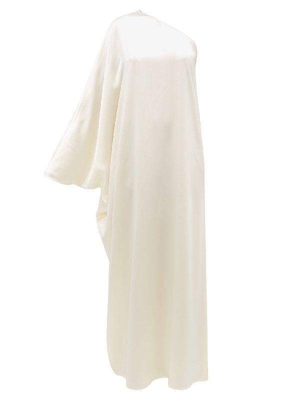 La Collection Maui One-shoulder Silk-charmeuse Gown In Ivory