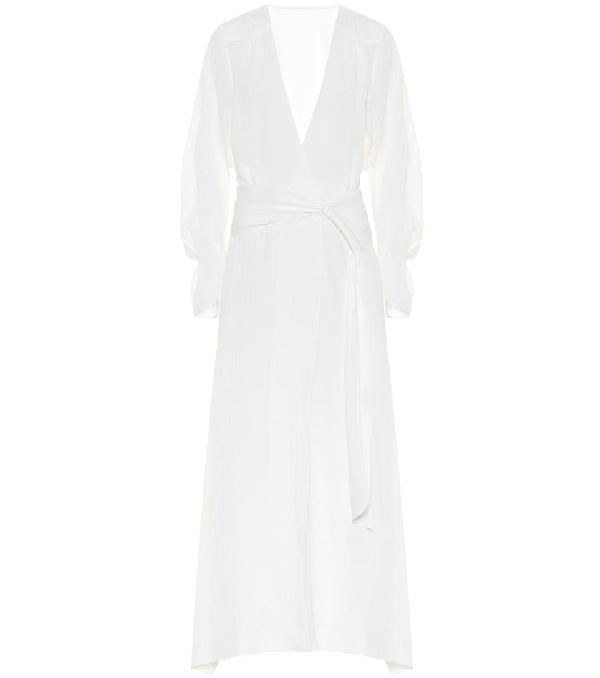 Roland Mouret Springbrooke Chevron-jacquard Silk-crepe Dress In White