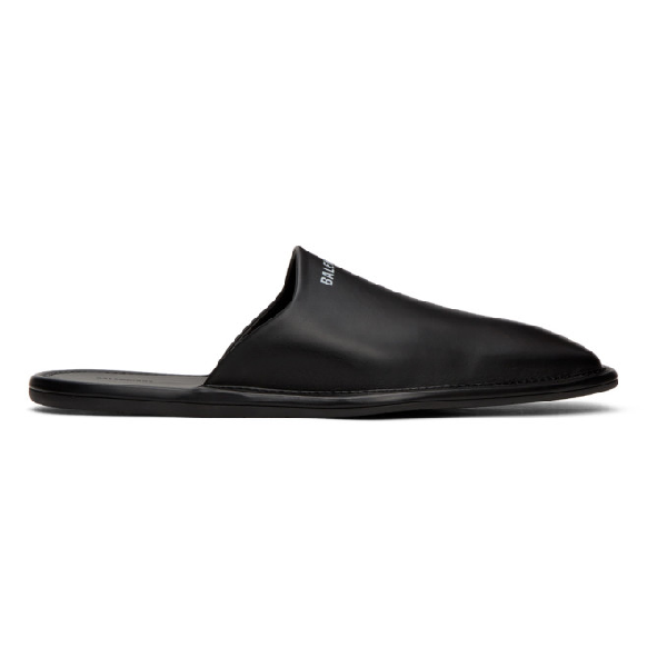Balenciaga Logo-print Backless Leather Loafers In 1006 Blkwht