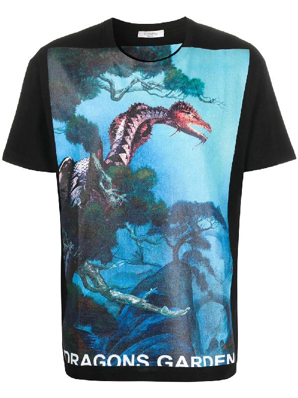Valentino Dragons Garden Cotton-jersey T-shirt In Black