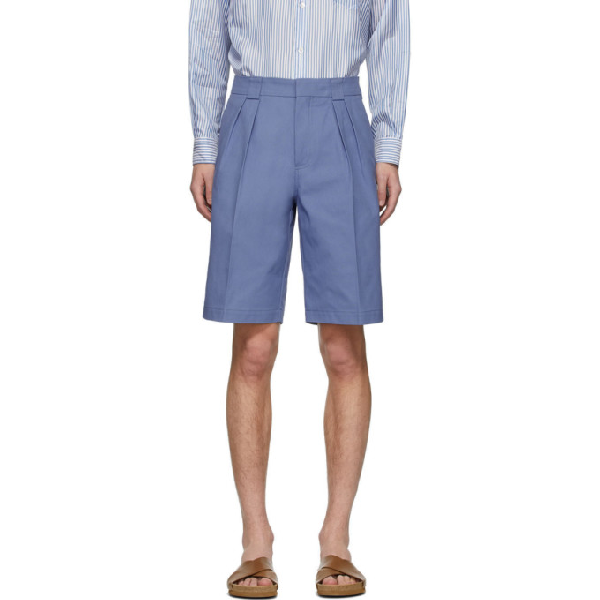 Jacquemus Wide Knitted Shorts W/pences In Blue
