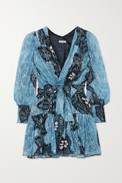 Ulla Johnson Noemi Wrap-effect Printed Fil CoupÉ Silk And Lurex-blend Mini Dress In Blue