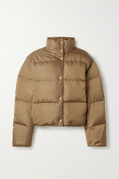 Acne Studios + Net Sustain Cropped Quilted Shell Down Jacket In Light Brown