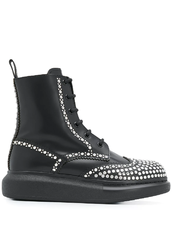 Alexander Mcqueen Studded Leather Exaggerated-sole Ankle Boots In Black