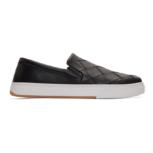 Bottega Veneta Dodger Intrecciato Leather Slip-on Sneakers In 1000 Black