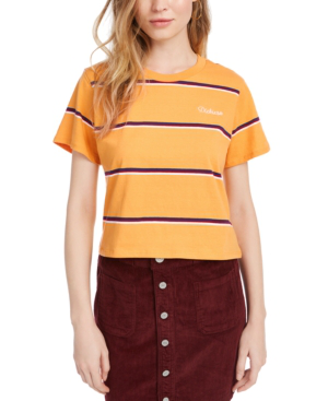 Dickies Cotton Striped Cropped T-shirt In Golden Mustard Stripe