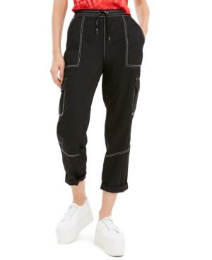 Dickies Juniors' Cropped Twill Cargo Pants In Black