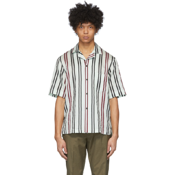 Acne Studios Striped Cotton-blend Shirt Pastel Green/burgundy In Pstlgrnbrgn
