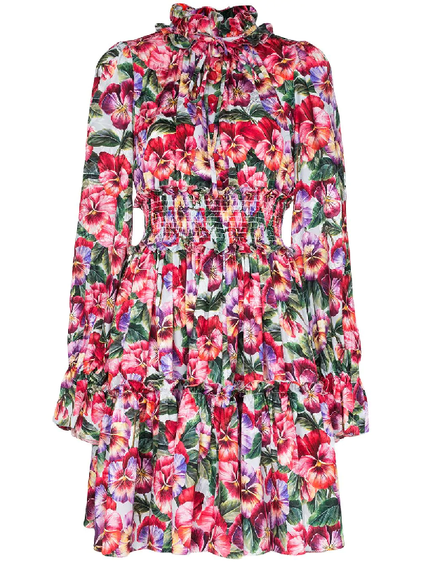 Dolce & Gabbana Floral Print Mini Dress In Pink
