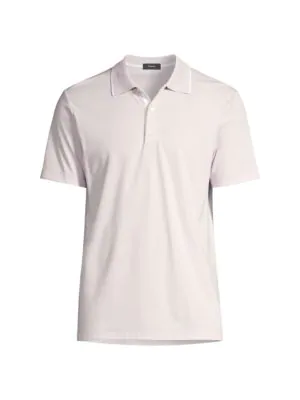 Theory Men's Casual Cotton Polo In Pink Mist White