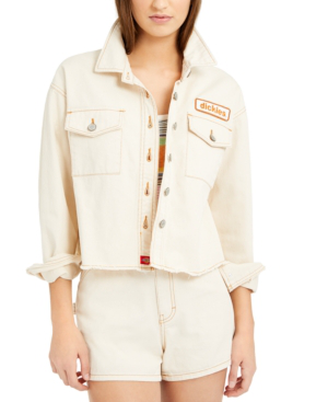 Dickies Logo Patch Crop Cotton Trucker Jacket In Natural