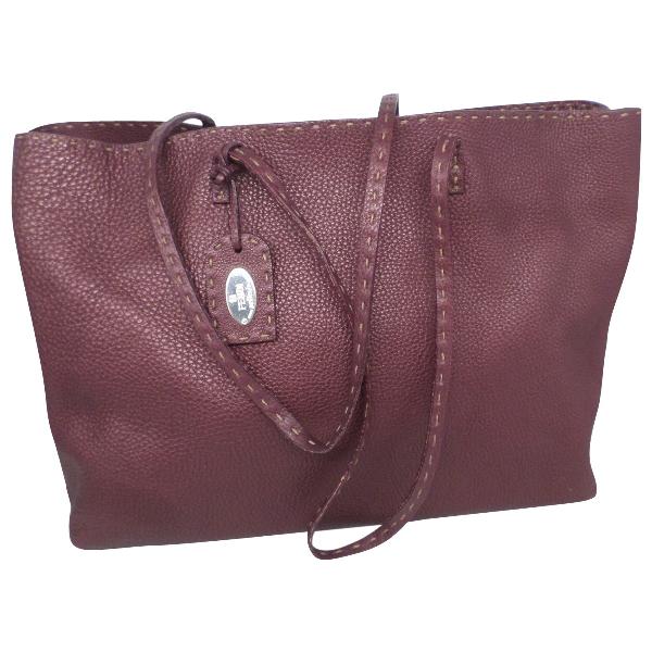 Fendi Roll Bag  Purple Leather Handbag