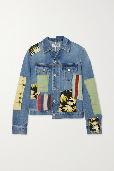 Loewe Patchwork Denim Printed Cotton And Silk-blend Jacket In Blue