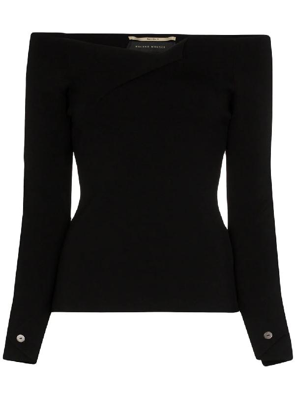 Roland Mouret Angeles Off-the-shoulder Cady Top In Black
