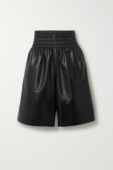 Bottega Veneta Elasticated-waist Leather Shorts In Black