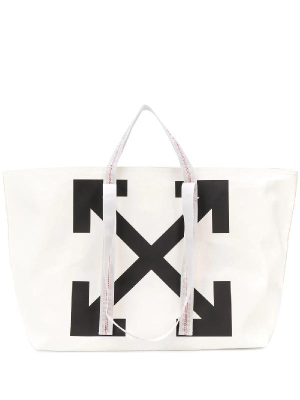 Off-white Arrows Logo Print Shopper Tote Bag In 白色
