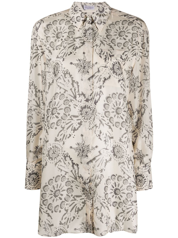 Brunello Cucinelli Printed Shirt In White