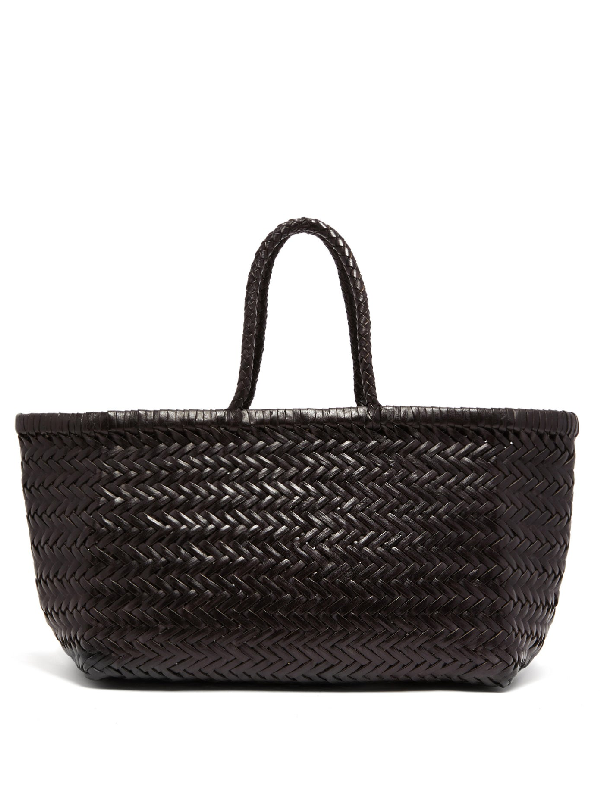 Dragon Diffusion Triple Jump Small Woven-leather Basket Bag In Black