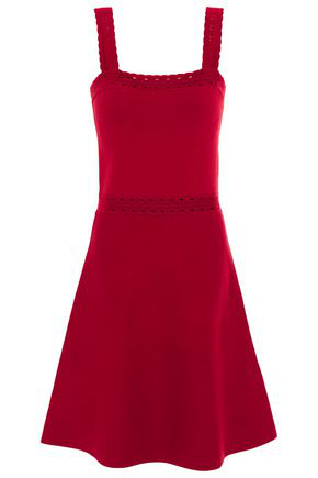 Sandro Alyson Pointelle-trimmed Stretch-knit Dress In Crimson