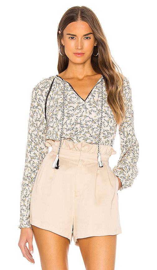 Cupcakes And Cashmere Halston Printed Tassel Blouse In Cameo Rose